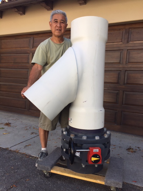"Garry Sato with the GreenSmart 12"" Butterfly PVC Rainwater Diverter Valve"