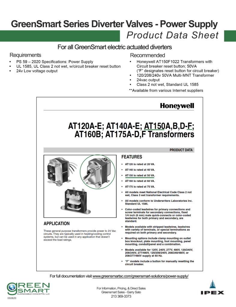 GreenSmart Actuated Diverters Power Supply fact sheet